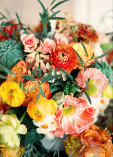 Ranunculus rose and succulent florals