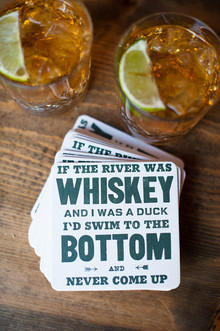 Whiskey themed cocktail coasters