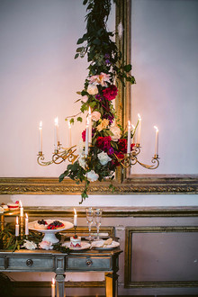 Romantic Luxe wedding handling gold candleabra