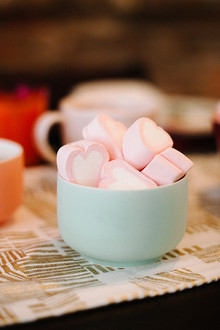 Pink heart shaped marshmellows