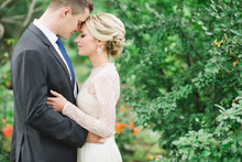 Intimate garden wedding portrait