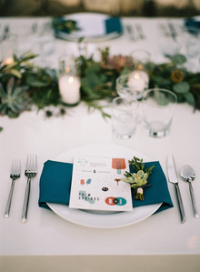 Blue and red place setting