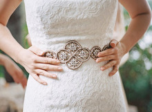 Wedding dress silver belt