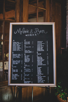 Escort card chalkboard