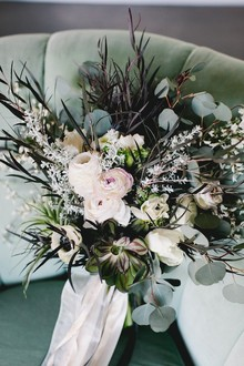 Ranunculus and euctalyptus bouquet