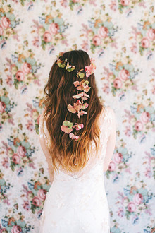 Long hair with florals