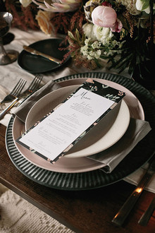 Industrial Wedding Silver and Black Place Setting