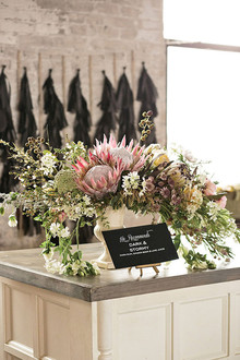 Industrial Wedding Bar Florals