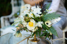 Peony white and green florals