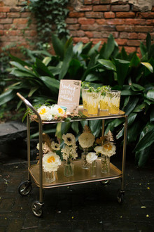 Gold and yellow modern bar cart