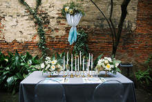 Aqua and gold modern tablescape
