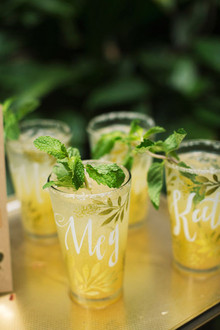 Yellow cocktails with calligraphy names