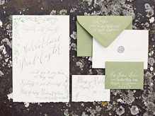 Green and White Rehearsal Dinner Invitation
