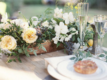 Intimate Outdoor Rehearsal Dinner Table Decor