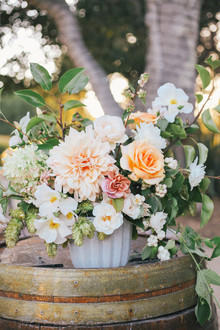 Peach dahlia arrangement