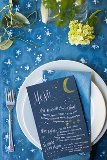 Blue and white dinner party menu