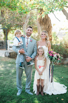 Outdoor family wedding photo