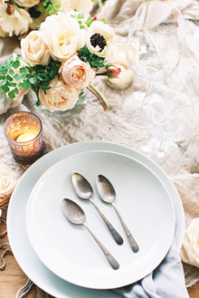 White and blush place setting