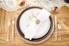 Desert gold and brown place setting