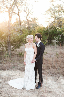 Outdoor sunset wedding portrait