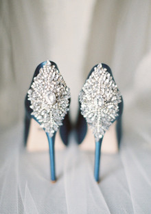 Diamond embellished blue heels