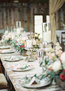 Barn chic country wedding tablescape