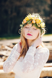 Yellow bohemian flower crown