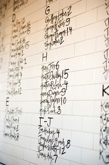 White and black table number wall