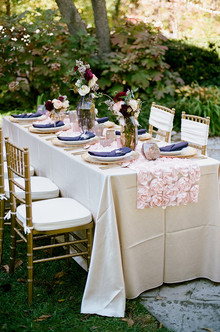 Elegant plum and gold tablescape