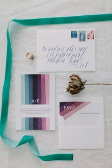 Iridescent wedding invitation set