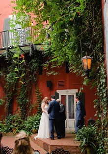 Courtyard wedding portrait