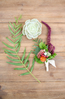 Green boutonniere and succulent