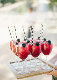 Berry cocktails with striped straws