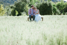 Outdoor field wedding portrait