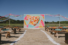 Modern mexican themed ceremony ceremony and backdrop