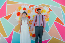 Bright backdrop wedding portrait
