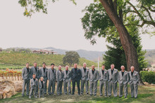 Dark grey groomsmen attire