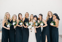 Modern Palm Springs wedding bridesmaids