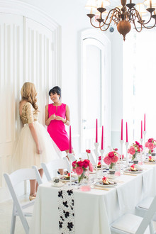 Pink, black and white party decor