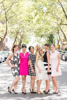 Pink, black and white outfits