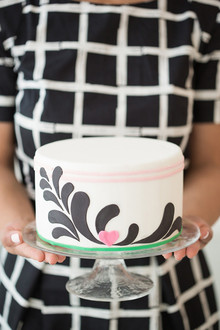 Black, pink and white modern cake