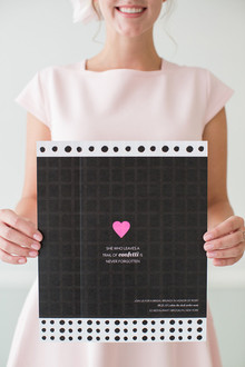 Black, white and pink invitation