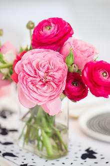 Bright pink floral centerpiece