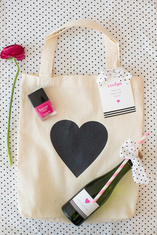 Black heart tote bag and favors