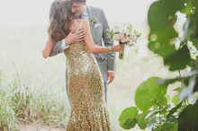 Gold and mint wedding portrait