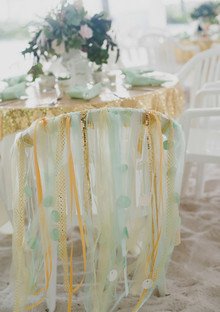 Gold and mint wedding chair tassels
