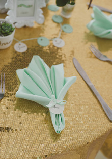 Gold and mint napkin