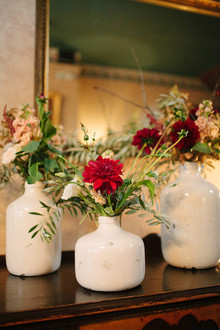 Green and deep red flower decor