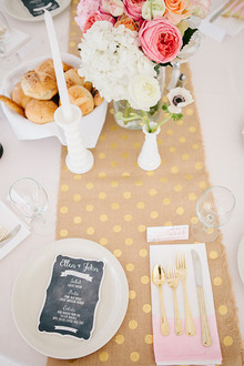 Pink, gold and white polkadot place setting