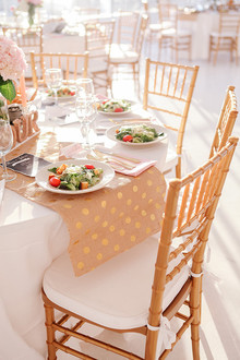 Pink, gold and white place setting